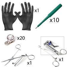33 Pc. Dermal Piercing Kit incl. Tops, Bases, Punches, Dermal Forceps, Gloves