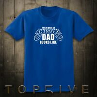 S-XXL This Is What Awesome Dad Looks Like Fathers Day Birthday Navy Mens T Shirt