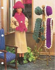 WINTER HATS & ACCESSORIES SCARF MITTEN FASHION DOLL CROCHET PATTERN INSTRUCTIONS