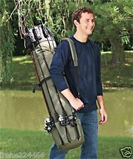 Fishing 5 Rod Pole Equipment Case Organizer Tackle Box Bag Canvas 49x8.5 NIP