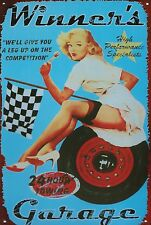 SUPERBE PLAQUE ALUMINIUM PIN UP VINTAGE 20 X 30 - DECORATION USA