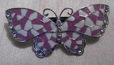 Lilac Butterfly Barrette Hairclip with Diamantes