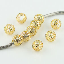 10pcs Mesh Net Round Ball Spacer Big Hole Gold Charm Beads Fit European Bracelet