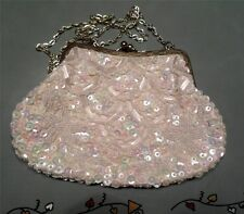 "White Iridescent Glass Vtg Bead Bell Bottom Purse 8""  Estate Flowers"