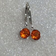925 Sterling Silver Round Hessonite Garnet Dangle Lever Back Earrings 3.40CTW