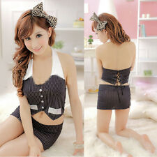 Sexy Lingerie Underwear Secretary Costume Outfit Cosplay Ladies Skirt Black