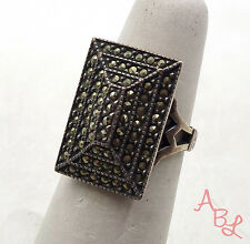Sterling Silver Vintage 925 Open Band Cluster Marcasite Ring Sz 6 (7g) - 548870