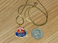 """UNITED IN SHRINEDOM AAHMES OAKLAND CA GOLD-TONE NECKLACE/PENDANT W/18"""" CHAIN-NEW"""