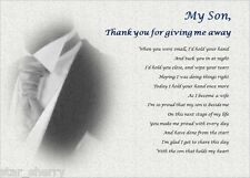 SON - Thank you for GIVING ME AWAY- personalised wedding poem