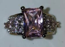Showy~S80 Silver~Pink Austrian Crystal~Cz~Ring~Size 8.5