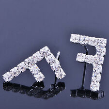 "Korean Womens White Gold Filled Clean Crystal ""F"" Shape Jewelry  Stud Earrings"