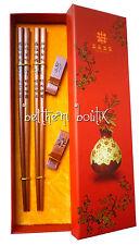 Asie : Coffret Duo 2 Paires de Baguettes Chinoises en BOIS - Modèle Calligraphie