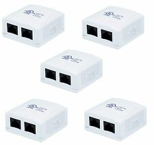 5x 2 port Cat5e Cat 5e Network/Internet Cable Wall Surface Mount Compact Box