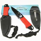 MASTER USA Red Cord Wrapped Fixed Blade Tactical Neck Boot Knife Black Sheath