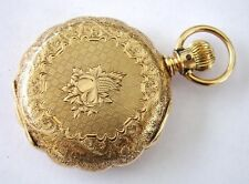 Antique c1885 ELGIN POCKET WATCH 6s 15j Solid 14K GOLD HUNTER Pie Crust CASE LS