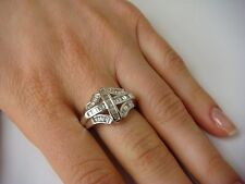 !BEAUTIFUL 14K WHITE GOLD 0.75 CT.T.W. BAGUETTE CUT DIAMOND LADIES RING, SIZE 10