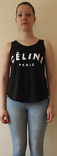 CELINE PARIS Tshirt Top Tank Black RIHANNA VEST T shirt Ladies Women Girls