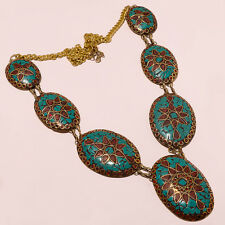 Ethnic High Quality Tibetan Solid Brass Turquoise-Coral Antique Necklace CH991