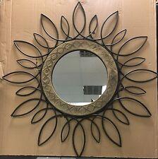GRANDE Vintage rustico etnico floreale in metallo effetto anticato Specchio Parete di Legno 81cm NUOVO