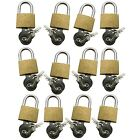 12 x Brass Padlock With 2 Keys 20mm Suitcase Sport Bags Luggage Cupboard Locker