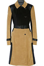 New Ohne Titel Leather & Suede trench coat colorblock camel black 4 S $1910