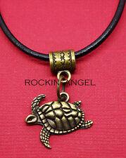 Vintage Bronze Plt Sea Turtle Pendant Leather Necklace Ladies Mens Gift Zoology