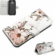 Flip Phone Skin Protector Leather Wallet Cover Rubber Case For HTC ONE 2 2014 M8