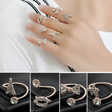 Fashion 6PCS/Set Gold Plated Crystal Plain Urban Above Knuckle Band Midi Rings