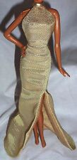 "DRESS ONLY ~ BARBIE DOLL ""THE LOOK"" FULL LENGTH GOLD EVENING GOWN MODEL MUSE"