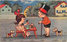BG33590 margret  boriss  children playing with toy   dog nice artist signed