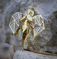 Diamond Cut Gold Mini Angel Pendant With 22 Inch Box Chain