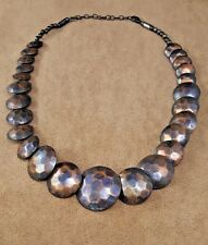 MID CENTURY MODERNIST VINTAGE HAMMERED BRASS PUFFY COIN-SHAPED DISC NECKLACE