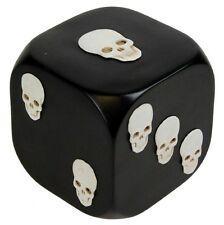 NEW GIANT DICE WITH DEATH 8cm DIE ORNAMENT BLACK WITH WHITE SKULLS D0691B4 NEM