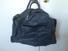 VINTAGE GENUINE LEATHER BLUE DUFFLE BAG TRAVEL CARRY ON GYM Patchwork