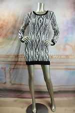 New MINI PINK White Cream Black Sweater Knit Open Back Mini Dress XS Extra Small