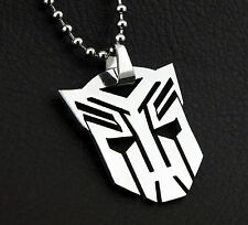 Transformer Auto bot Pendant Stainless Steel Silver Necklace 60cm Ball Chain