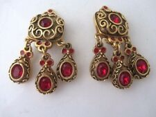 anciennes boucles d'oreille clip style baroque SATELLITE vintage french earrings