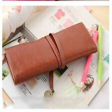Retro Pen Brush Make Pencil Leather 1Pc Stationery Up Bag Purse Cosmetic Case