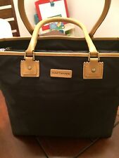 MINT! HARTMANN BLACK NYLON/TAN LEATHER LARGE TOTE SHOPPER SHOULDER BAG HANDBAG