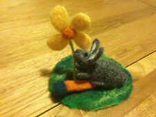 Needle Felted Sweet Little Rabbit on the . Sweet Bunny. 100% merino wool. - OOAK