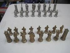 Vintage Italian Metal Bronze Brass Roman Vs Barbarians Italfama Chess Set Caesar
