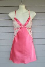 Fredericks of Hollywood Womens Lovely Coral Satin & Beige Chemise Nightgown S