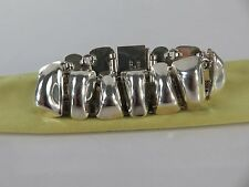 Vintage Taxco Mexico Solid Sterling Silver Pre Colombian Design Bracelet, c1970s