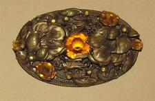 Vtg ANTIQUE ~ CZECH Victorian EDWARDIAN Topaz Glass SASH BROOCH Jeweled Layered