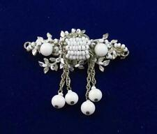Vintage Signed MIRIAM HASKELL White Milk Glass Beaded & Dangle Floral BROOCH Pin