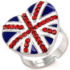 Love Heart Shape British UK England Flag Pattern Opening Size Adjustable Ring