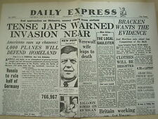 DAILY EXPRESS WWII NEWSPAPER JUNE 7 1945 INVASION OF JAPAN IS CLOSE