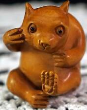 Wood Carved Japanese Netsuke Anthropomorphic Bear Artist Signed Antique Figure
