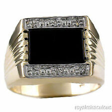 Mens Diamond & Onyx Ring Sterling Silver or Yellow Gold Plated
