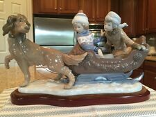 Lladro 5037 Sleigh Ride w/ Wooden Base - Mint Condition